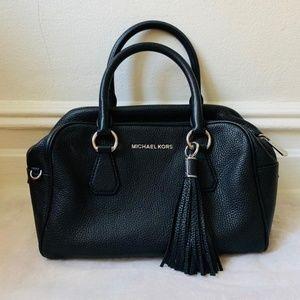MK black leather tassel satchel